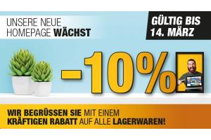 -10% Rabatt auf der neuen Homepage