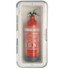 Ablagefach/Halter für 1 kg Feuerlöscher, weiß, 434x196x105 mm, transpar.Deckel, TOP-LINE
