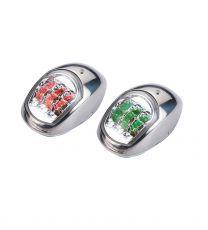 Navigationslicht-Set rot/grün je 112° mit LED, NIRO-Gehäuse, ca. 97x62x41mm